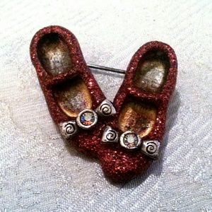 Vintage Red Glitter Ruby Slippers Brooch